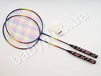 Бадминтон железный, 2 ракетки 61,5см, воланчик, радуга, в сетке MS0754