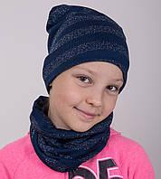 Вязанный комплект в полоску для девочки на осень - Арт 2118