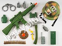 Набор военного, автомат, каска, наручники, свисток, в сетке 66686