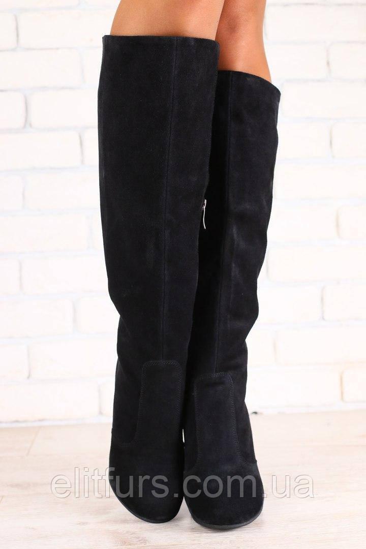 Демисезонные женские сапоги, на байке, на высоком устойчивом каблуке, замшевые, черные