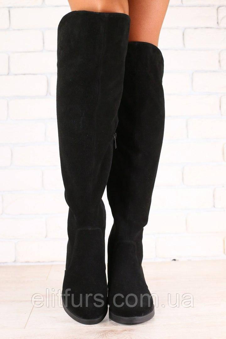 Демисезонные женские ботфорты, на байке, на низком ходу, замшевые +(2 цвета)