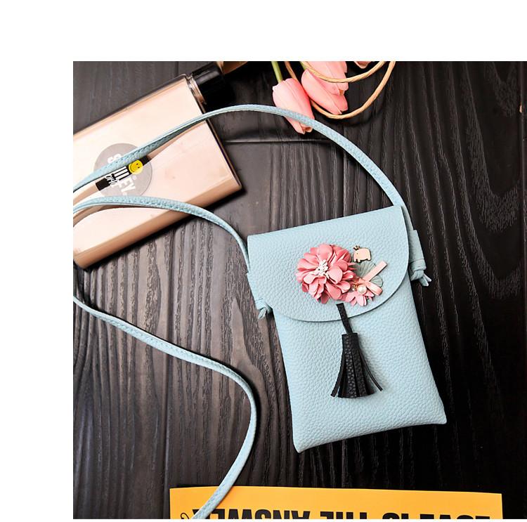 Мини сумочка-кошелёк на шнурке через плечо, цветы и кисточка - голубая 207-101