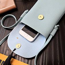 Мини сумочка-кошелёк на шнурке через плечо, цветы и кисточка - голубая 207-101, фото 3