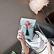 Мини сумочка-кошелёк на шнурке через плечо, цветы и кисточка - голубая 207-101, фото 4