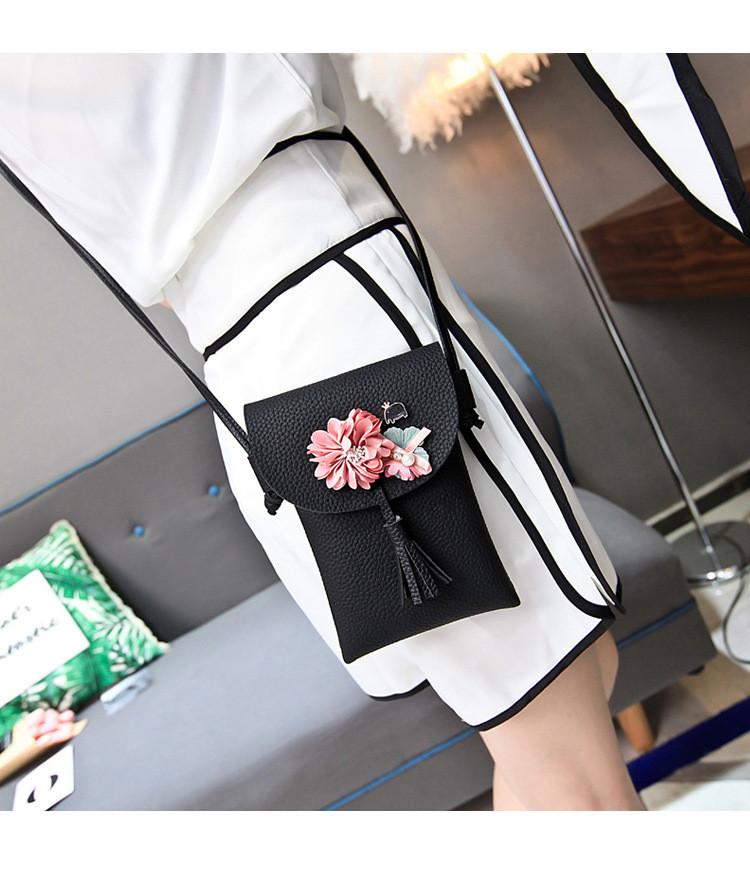 Мини сумочка-кошелёк на шнурке через плечо, цветы и кисточка - черный 207-102