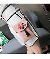Мини сумочка-кошелёк на шнурке через плечо, цветы и кисточка - розовая 207-103