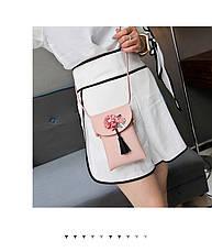 Мини сумочка-кошелёк на шнурке через плечо, цветы и кисточка - розовая 207-103, фото 2