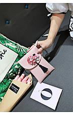 Мини сумочка-кошелёк на шнурке через плечо, цветы и кисточка - розовая 207-103, фото 3