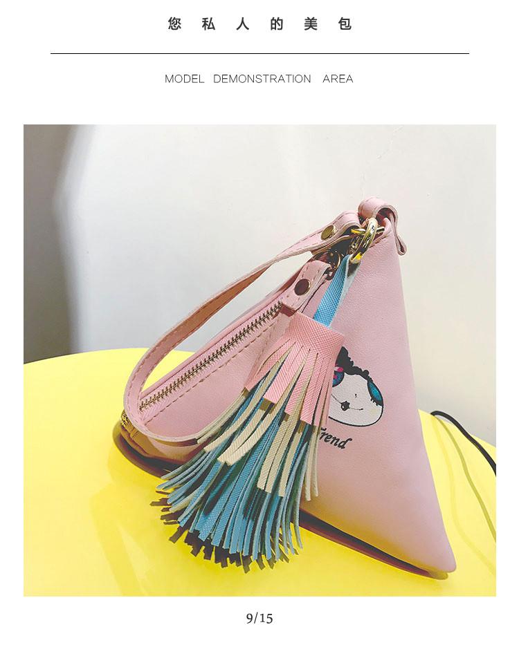 Мини сумочка треугольная на молнии, короткий ремешок, рисунки и кисточка- розовая 207-111