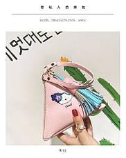Мини сумочка треугольная на молнии, короткий ремешок, рисунки и кисточка- розовая 207-111, фото 2
