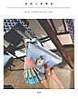 Мини сумочка треугольная на молнии, короткий ремешок, рисунки и кисточка- синяя 207-112, фото 5