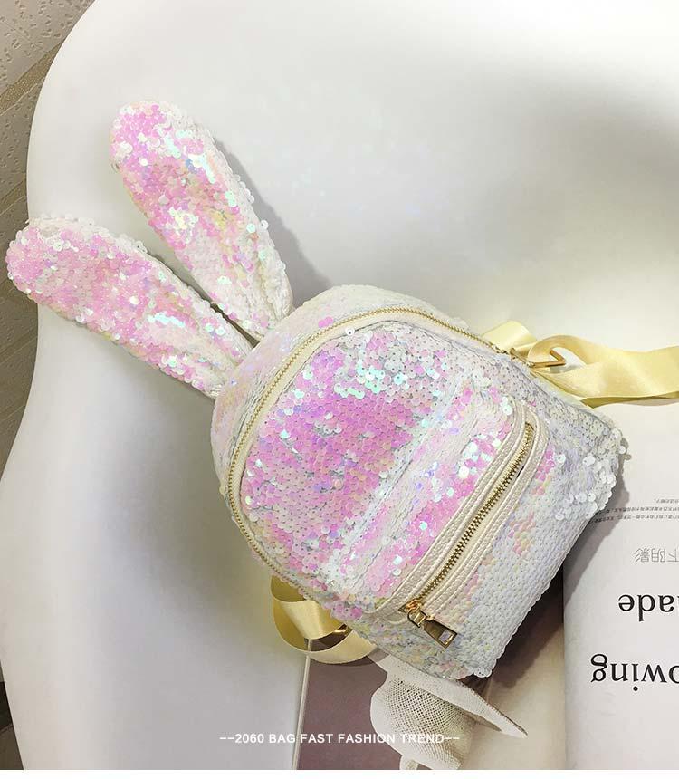Рюкзак с ушками двухсторонние пайетки, бело-розовый 207-22
