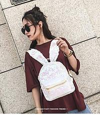Рюкзак с ушками двухсторонние пайетки, бело-розовый 207-22, фото 3
