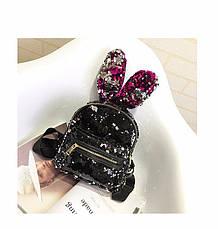 Рюкзак с ушками двухсторонние пайетки, черно-бордовый 207-23, фото 3