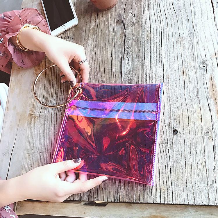 Прозрачный клатч на молнии, ручка металлическое кольцо розовый 207-32