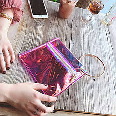 Прозрачный клатч на молнии, ручка металлическое кольцо розовый 207-32, фото 2