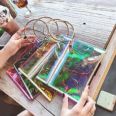 Прозрачный клатч на молнии, ручка металлическое кольцо розовый 207-32, фото 3