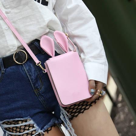Мини сумочка-кошелёк с ушками, ремешок через плечо розовая 207-61, фото 2