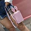Мини сумочка-кошелёк с ушками, ремешок через плечо розовая 207-61, фото 5