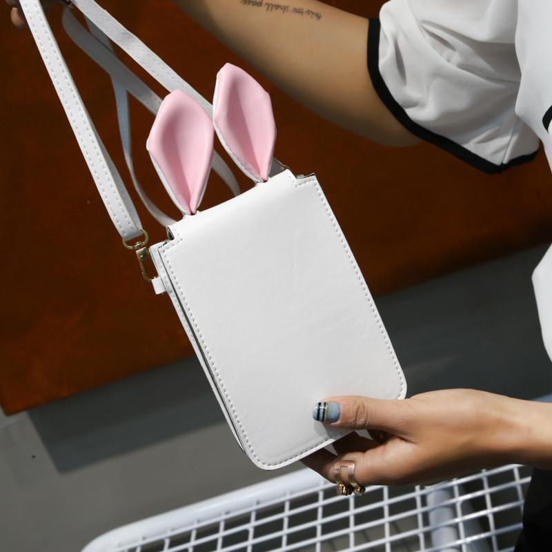 Мини сумочка-кошелёк с ушками, ремешок через плечо белая 207-62