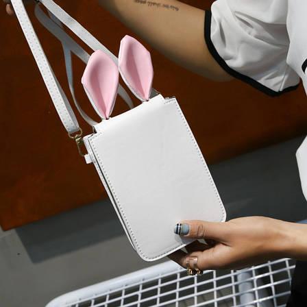 Мини сумочка-кошелёк с ушками, ремешок через плечо белая 207-62, фото 2