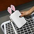 Мини сумочка-кошелёк с ушками, ремешок через плечо белая 207-62, фото 5