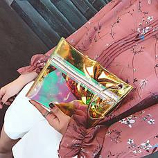 Прозрачный клатч на молнии, ручка металлическое кольцо желтый 207-33, фото 2