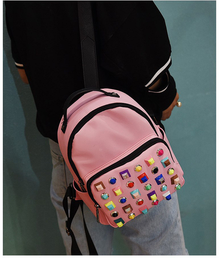 Рюкзак с цветными заклепками розовый 207-5