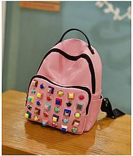 Рюкзак с цветными заклепками розовый 207-5, фото 2