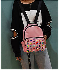 Рюкзак с цветными заклепками розовый 207-5, фото 3