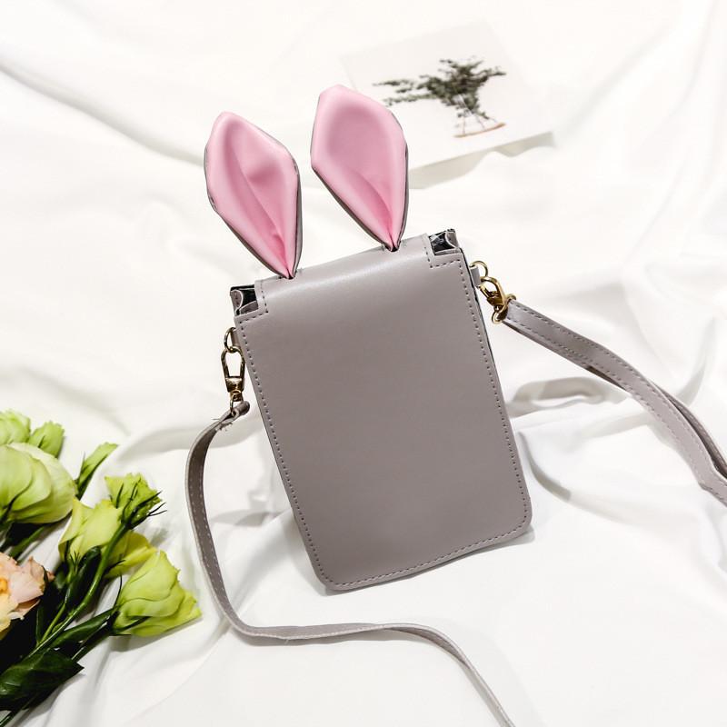 Мини сумочка-кошелёк с ушками, ремешок через плечо серая 207-63