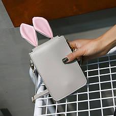 Мини сумочка-кошелёк с ушками, ремешок через плечо серая 207-63, фото 2