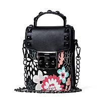 Мини сумочка на цепочке с металлической застежкой, заклепки и цветы - черная 207-71