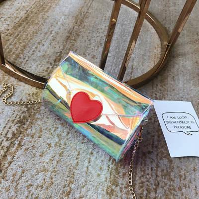 Мини сумочка прозрачная с сердечком на цепочке 207-8, фото 2