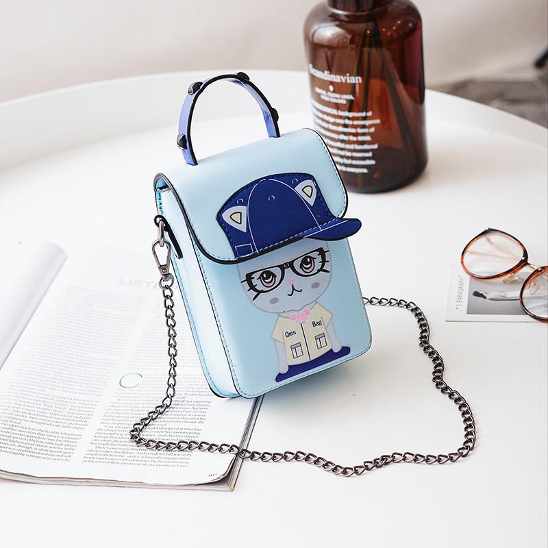 Маленькая сумочка на цепочке котенок в очках синяя 207-122