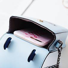 Маленькая сумочка на цепочке котенок в очках синяя 207-122, фото 3