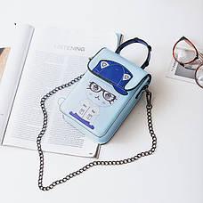 Маленькая сумочка на цепочке котенок в очках синяя 207-122, фото 2