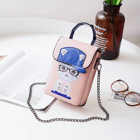 Маленькая сумочка на цепочке котенок в очках розовая 207-121, фото 2