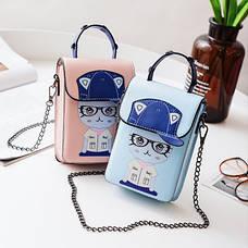 Маленькая сумочка на цепочке котенок в очках розовая 207-121, фото 3