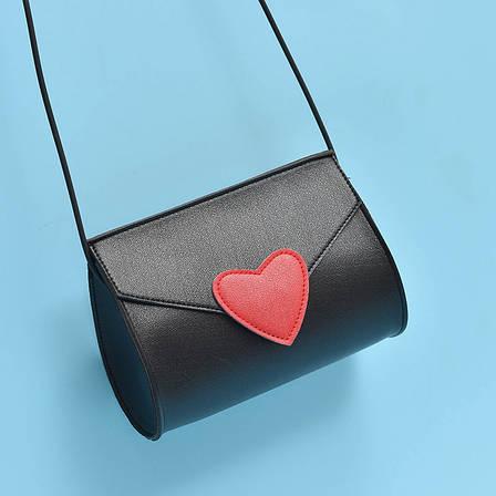 Мини сумочка с сердечком на резиновом шнурке - черная 207-92, фото 2