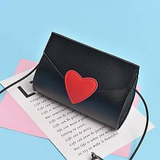 Мини сумочка с сердечком на резиновом шнурке - черная 207-92, фото 3