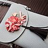 Мини сумочка-кошелёк на шнурке через плечо, цветы и кисточка - серая 207-104