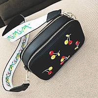 Клатч на ремне с вышивкой вишни - черный цвет 207-14