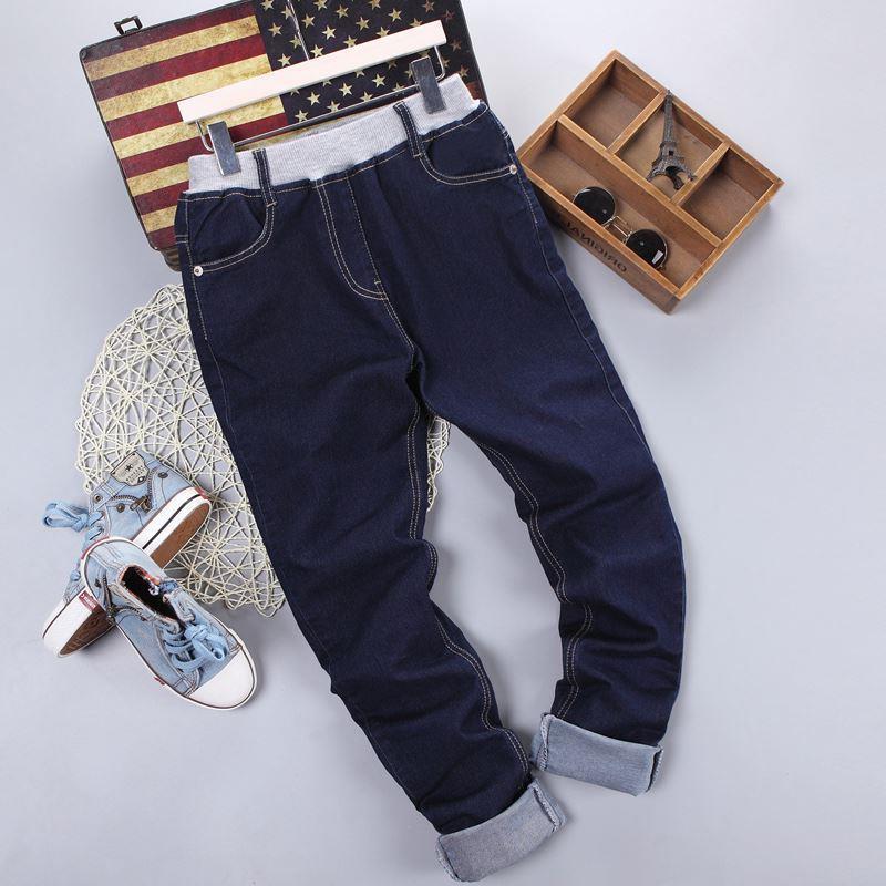 Детские джинсовые брюки в классическом синем цвете, пояс на резинке 203-14