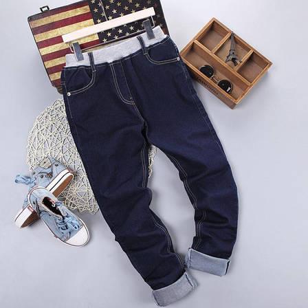Детские джинсовые брюки в классическом синем цвете, пояс на резинке 203-14, фото 2