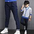 Детские джинсовые брюки в классическом синем цвете, пояс на резинке 203-14, фото 6