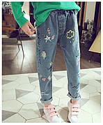 Детские джинсы - Граффити - свободного покроя, рваные 203-1