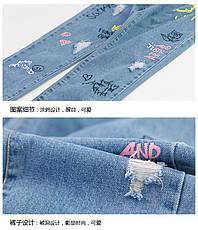 Детские джинсы - Граффити - свободного покроя, рваные 203-1, фото 2