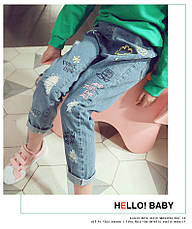 Детские джинсы - Граффити - свободного покроя, рваные 203-1, фото 3
