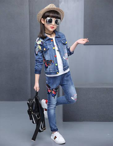 Джинсовый костюм на девочку с нашивками - бабочки 201-1, фото 2